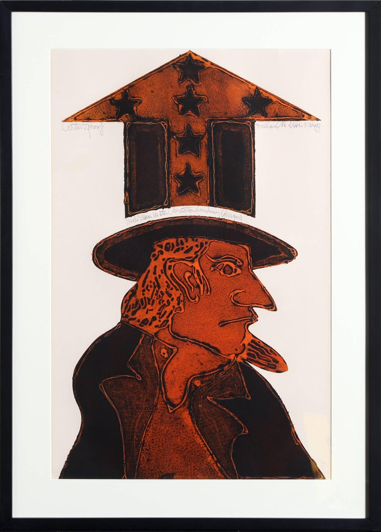Uncle Sam with Direction Finding Arrow, Pop Art Lithograph by Richard Martin Ash