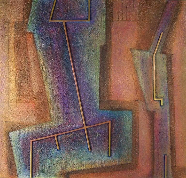 Artist: Warren Wolf, American (1924 - 2003) Title: Hem & Baqaq #1 Year: 2000 Medium: Oil and Marble Dust on Masonite  Size: 32 in. x 34 in. (81.28 cm x 86.36 cm)