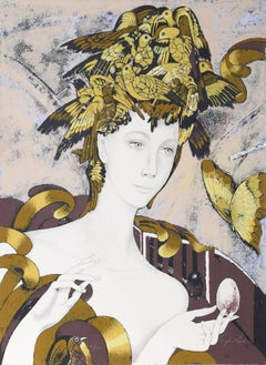Woman with Birds and Butterflies, Silkscreen by Froylan Ojeda