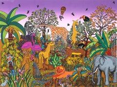 Jungle Scene, Silkscreen by Miguel García Ceballos