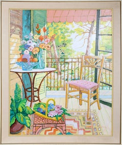 Front Porch with Pink Chair, Oil Painting by Lloyd van Pitterson