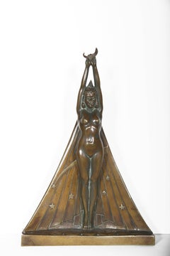 La Nuit, Art Deco Bronze Sculpture by Georges Lavroff