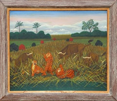 Tigers Hunting Water Buffalo painting by Lawrence Lebduska 1946