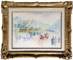 Au Bord de la Seine, Watercolor Painting by Jean Dufy