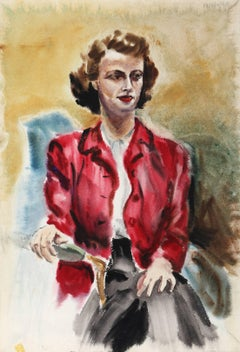 Woman with Red Jacket, Watercolor by Eve Nethercott