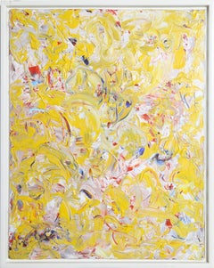 """Impressions of Gail and Rob"", Abstract Yellow Oil Painting by Youri Broitman"