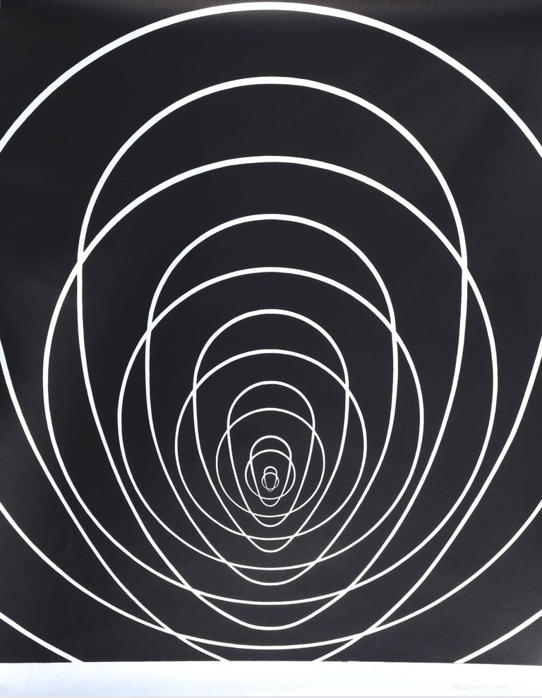 """Concentric Space (Silver)"", Silkscreen by Clarence Holbrook Carter"