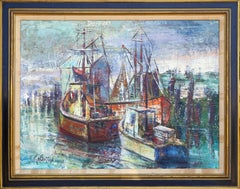 """Boats"", Impressionist Oil Painting by Stanley Sobossek"