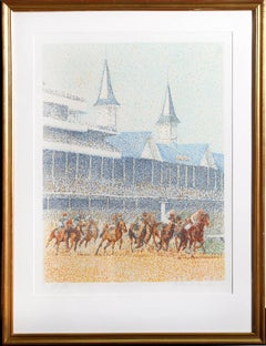"""Full Field"" Churchill Downs Horse Race Serigraph by Guillaume Azoulay"