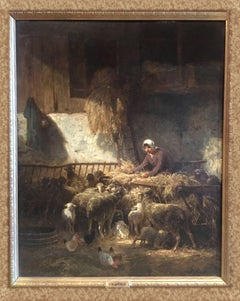 """""""Feeding Sheep"""" Oil on Panel by Charles-Emile Jacque"""