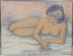 Nu Couchee sur Fond Rose, Nude Painting by Laurent Marcel Salinas