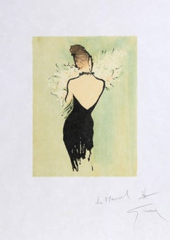 Woman in Black Dress with Flowers, Signed Lithograph by Rene Gruau