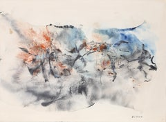 Blue and Orange Abstract Expressionist Watercolor, 1971, Don Fink