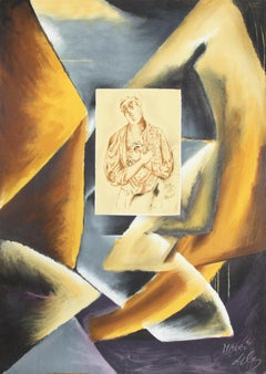 Cubist Abstract with Portrait, Lithograph by Sandro Chia