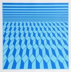 Environment (Blue), OP Art Serigraph by Roy Ahlgren