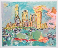 """Manhattan II"", 1980, Lithograph by Wayne Ensrud"