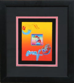 """""""Umbrella Man"""" Acrylic and Collage by Peter Max"""