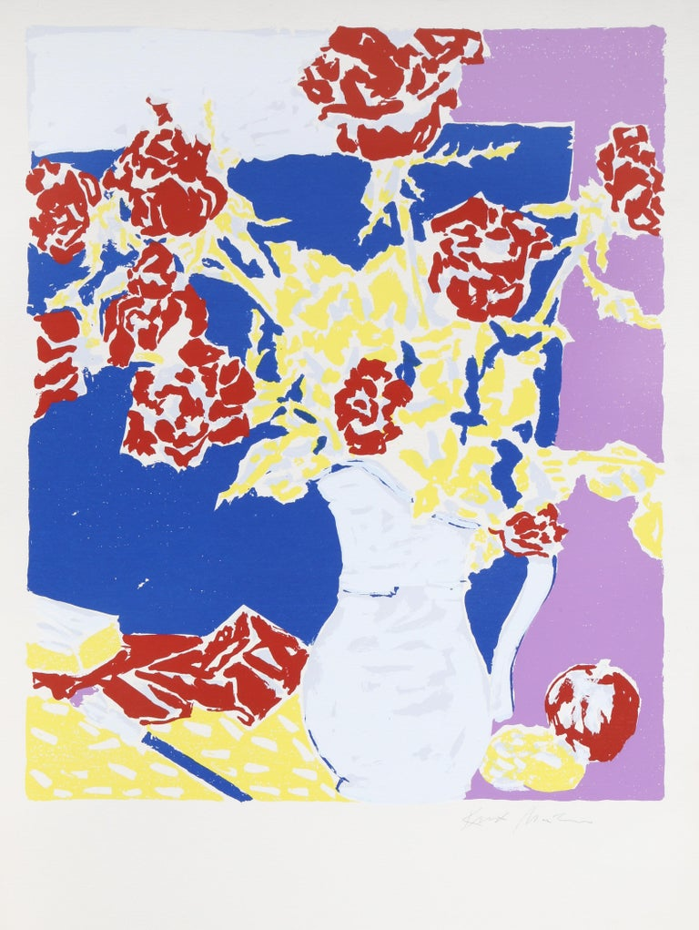 """""""Red Roses in the Artist's Room"""", Silkscreen by Knox Martin"""