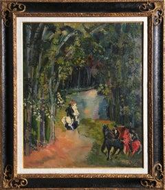 À Cheval au Bois de Boulogne, Oil Painting by Jean Dufy 1927