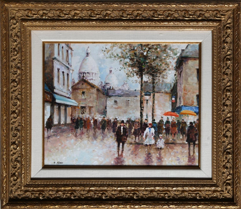 Artist: Andre Vinot, French XXth Title: Montmarte Year: 1946 Medium: Oil on Canvas mounted to Wood, signed l.l. Image: 16 x 20 in. (40.64 x 50.8 cm) Frame Size: 25.5 x 30 inches
