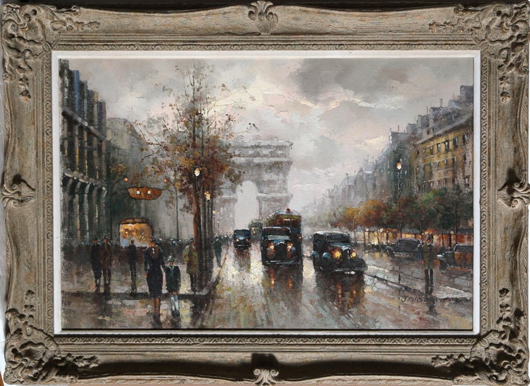 Artist: Jacques Gaston, French XXth Title: Champs Elysses at Dusk Year: circa 1950 Medium: Oil on Canvas mounted to Wood, signed l.r. Image: 24 x 36 in. (60.96 x 91.44 cm) Frame: 33 x 44.5 inches