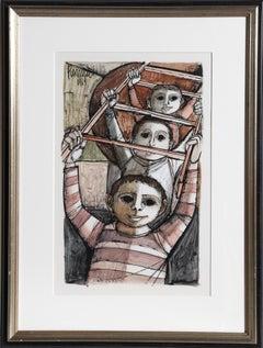 Three Boys, Gouache Painting by Lucio Ranucci