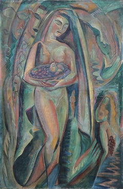 Nude with Fruit Basket, Oil Painting by A. Raymond Katz c1949