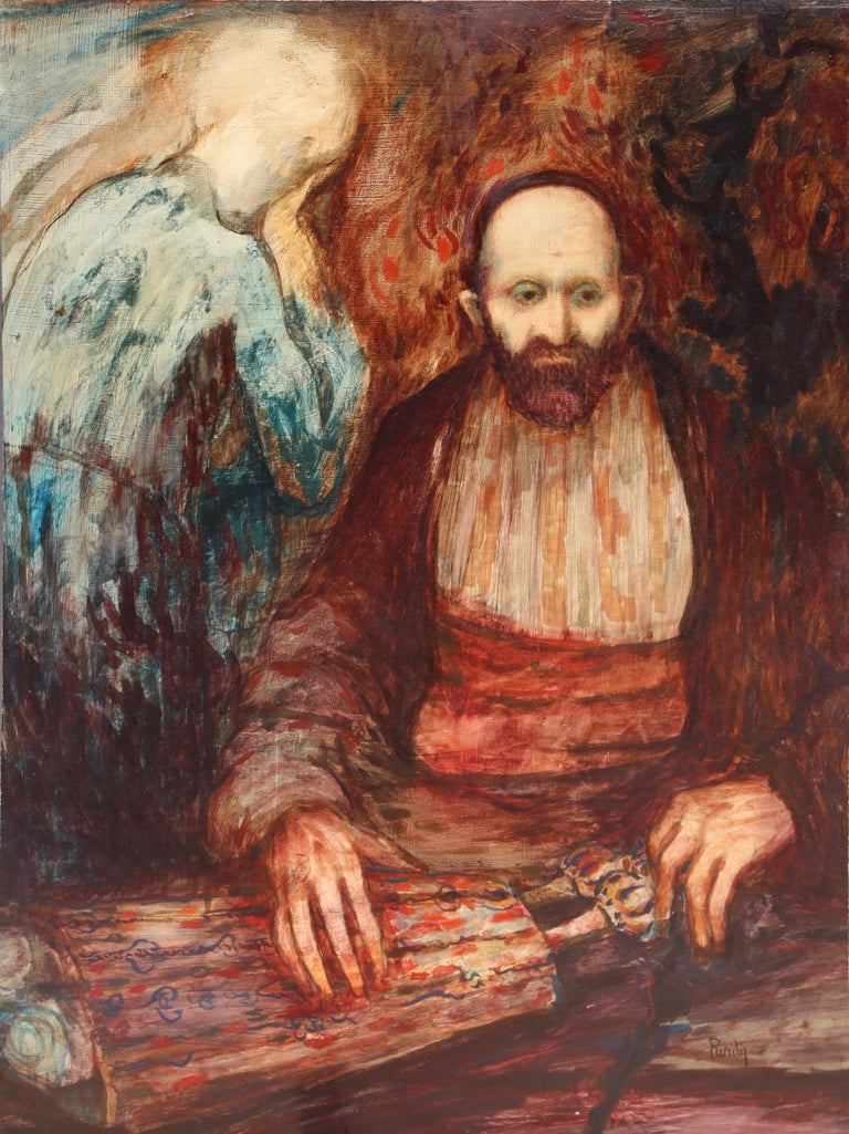 Artist: Donald Roy Purdy, American (1924 - ) Title: Rabbi Medium: Oil on Masonite, signed l.r. Size: 36 x 24 in. (91.44 x 60.96 cm)