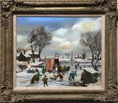 French Village in Winter, Oil Painting by J. van Buiksloot