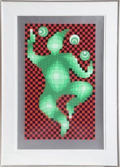 The Juggler, Framed Seriraph by Vasarely