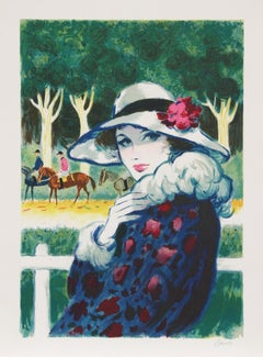 Lady at the Races, Lithograph by Casals Pons