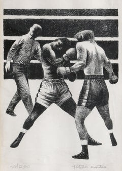 Toe to Toe, Boxing Lithograph by Fletcher Martin 1942