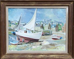 Boats on the Shore in Brittany, Oil Painting by Trafford Partridge Klots
