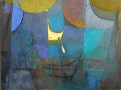 Blue Cubist Abstract, Oil Painting by Miriam Bromberg