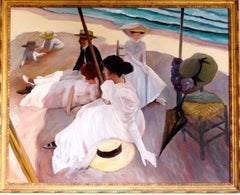 Afternoon on the Beach (Beach at Zarauz), Oil Painting by William Skilling