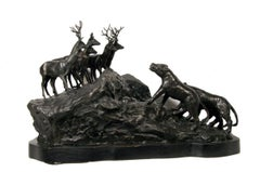 Lions and Deer, Bronze Sculpture by A. Ganso