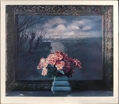 Roses with Dutch Landscape, Lithograph by Ben Schonzeit