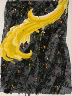 Untitled (Yellow Feather), Screenprint by Robert Zakanitch