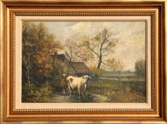 Pastoral Landscape with Cows, Oil Painting by John Parker Davis 1905