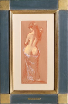 Standing Nude Woman, Pastel Drawing by Jan de Ruth