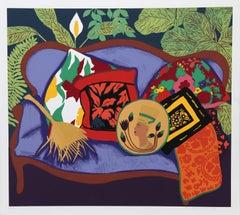 Purple Couch, Screenprint by Hunt Slonem