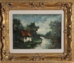 Bord l'Yerre de Seine, Oil Landscape Painting by Marcel Bouyeron