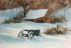 Snowy Barn and Wagon, Landscape Painting