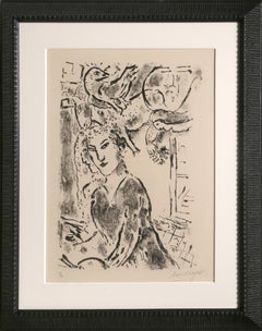 Self Portrait at the Window, Lithograph by Marc Chagall