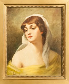 Portrait of a Woman in Yellow, Oil Painting by Conrad Kiesel c1890