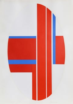 Red Oval Variation 3, Abstract Screenprint by Ilya Bolotowsky
