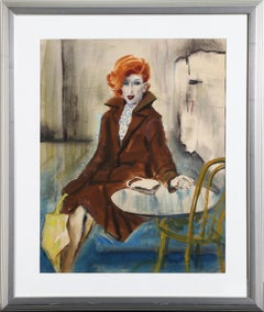 Red-Haired Woman in a Cafe