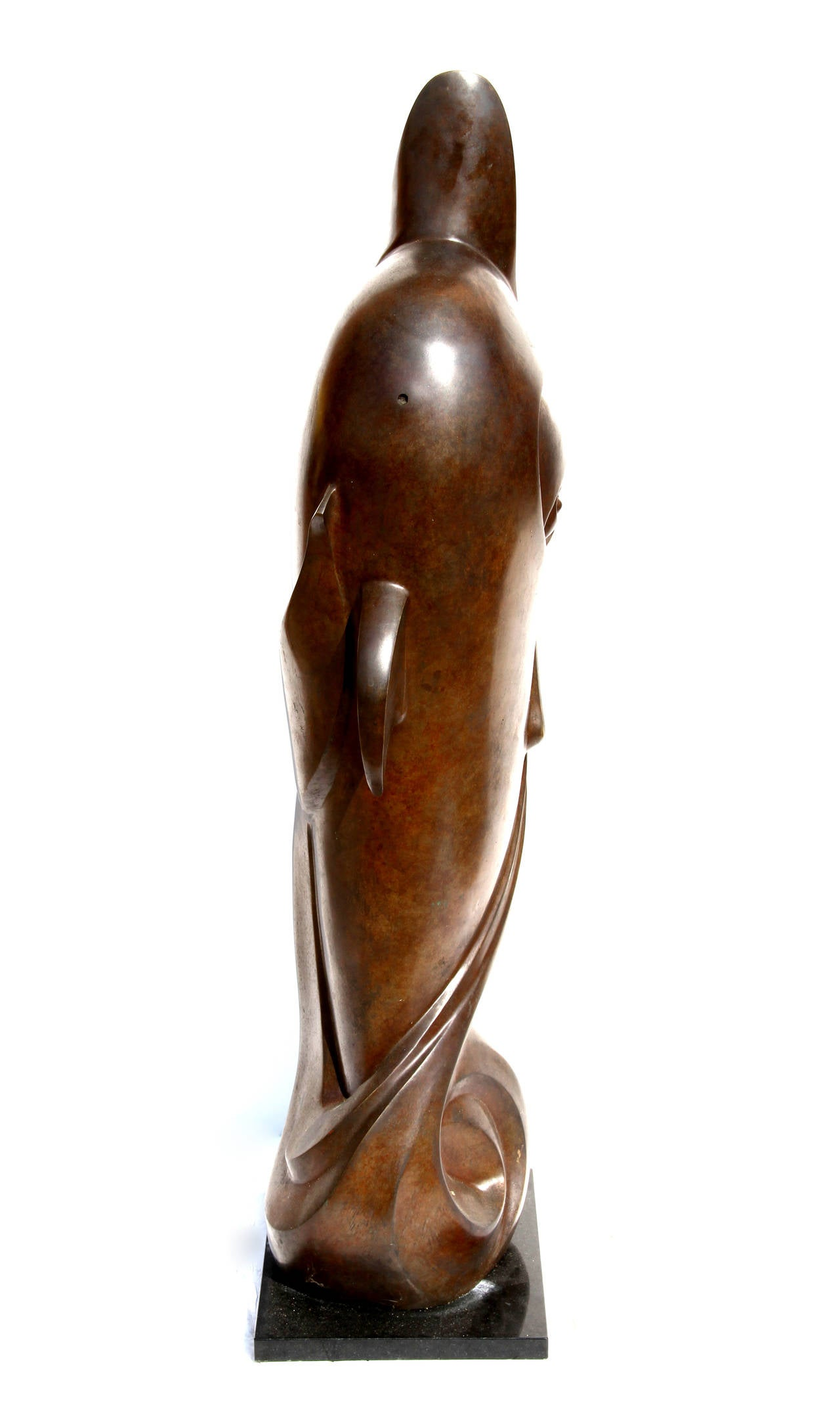 Dolphin, Tall Bronze Sculpture with Patina For Sale 2
