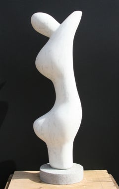 Abstract Figure, Unique White Marble Sculpture by Mario DeNoto