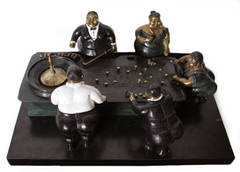 Roulette, Patinated Tabletop Bronze Sculpture by Bruno Luna